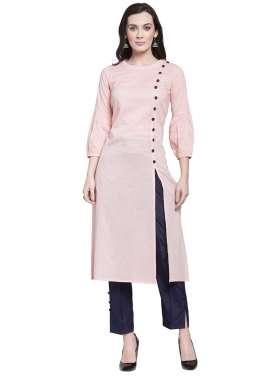 plusS Women Pink Solid A-Line Kurta