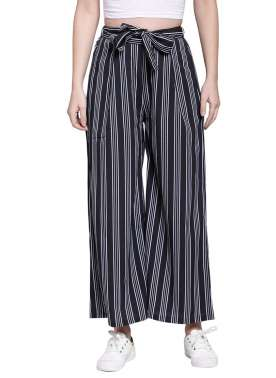 plusS Women Navy Blue Striped Flared Palazzos