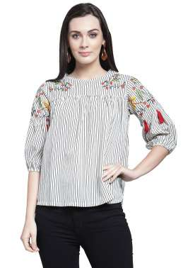 plusS Women White & Black Striped A-Line Top