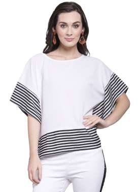 plusS Women White Striped Top