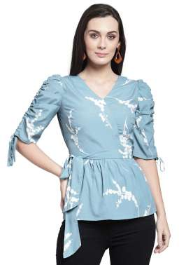plusS Women Blue Printed Peplum Top