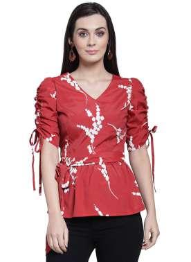plusS Women Red Printed Peplum Top