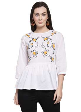 plusS Women White Printed Peplum Top