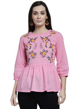 plusS Women Pink Printed Peplum Top