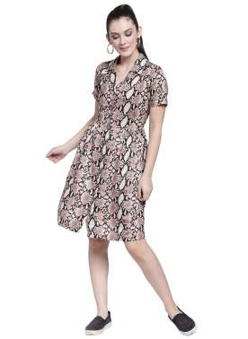 plusS Women Beige Printed Fit and Flare Dress