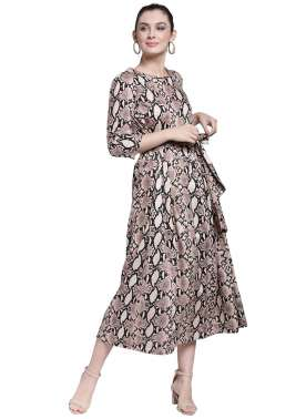 plusS Women Beige Printed A-Line Dress