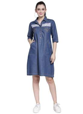 plusS Women Blue Solid Shirt Dress