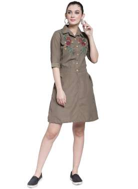 plusS Women Khaki Solid Shirt Dress