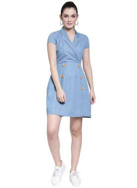 plusS Women Blue Solid Denim Wrap Dress