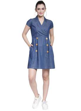 plusS Women Blue Solid Embroidered Wrap Dress