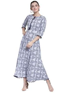 plusS Women White Printed Maxi Dress