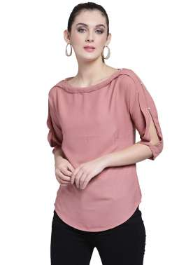 plusS Women Rust Solid Top