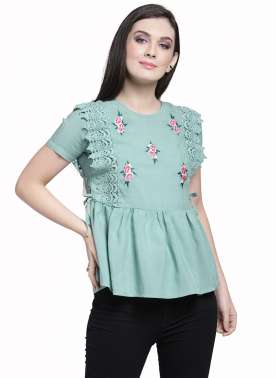 plusS Women Green Embroidered Peplum Top