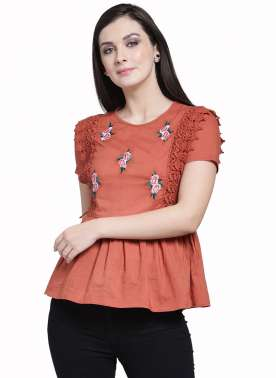 plusS Women Rust Red Embroidered Peplum Top