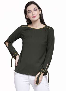 plusS Women Olive Green Solid Top