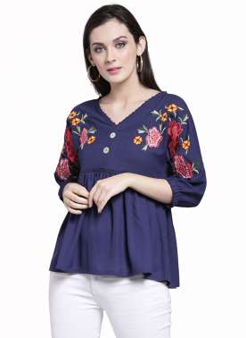 plusS Women Blue Self Design Empire Top