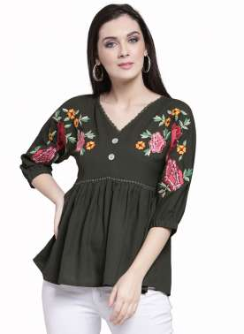plusS Women Olive Green Printed A-Line Top