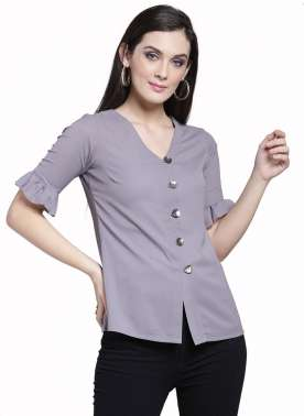 plusS Women Grey Solid Shirt Style Top