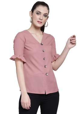plusS Women Pink Solid Shirt Style Top