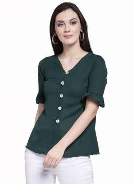 plusS Women Green Solid Shirt Style Top