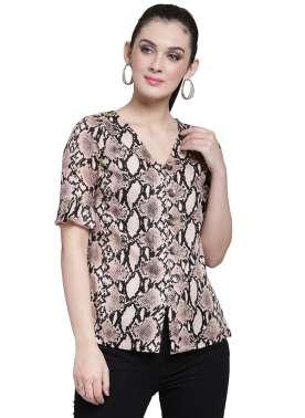 plusS Women Beige Printed Shirt Style Top