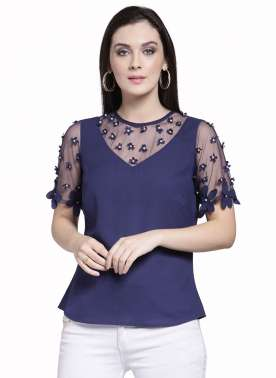 plusS Women Navy Blue Embellished Top