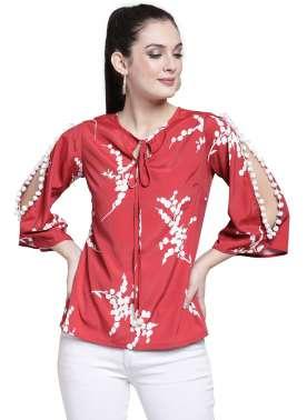 plusS Women Red Printed Top