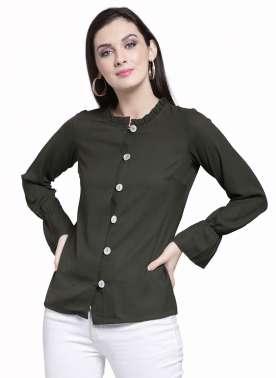 plusS Women Olive Green Solid Top