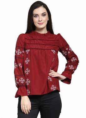 plusS Women Maroon Self Design Top