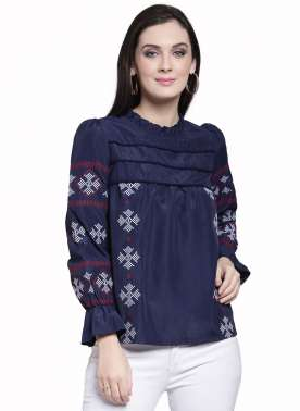 plusS Women Navy Blue Self Design Top