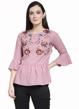 plusS Women Pink Self Design Peplum Top
