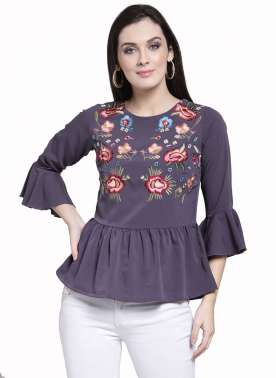 plusS Women Purple Self Design Peplum Top