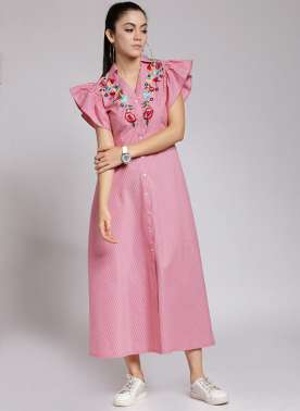 plusS Women Pink Striped Shirt Dress