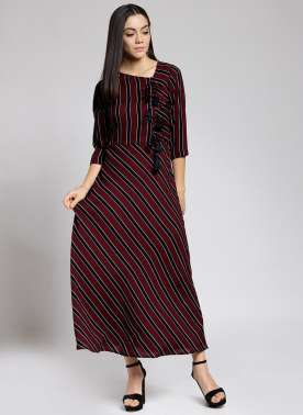 plusS Women Maroon Striped Maxi Dress