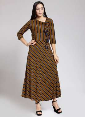plusS Women Mustard Striped Maxi Dress