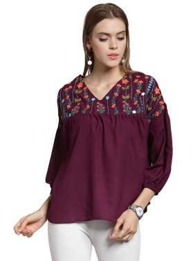 plusS Women Burgundy Printed Boxy Top
