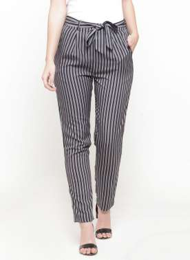 plusS Women Black & White Striped Flared Palazzos