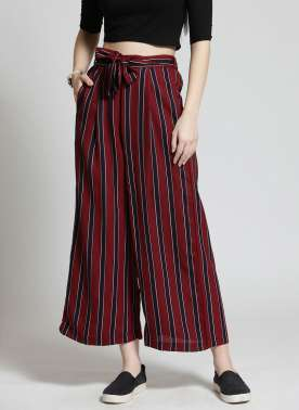 plusS Women Maroon & Black Striped Flared Palazzos
