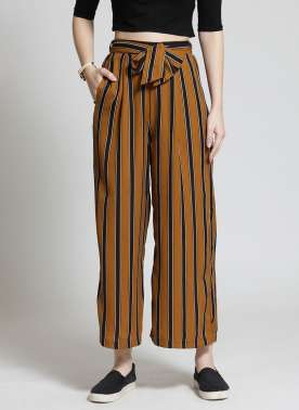 plusS Women Mustard & Black Striped Flared Palazzos