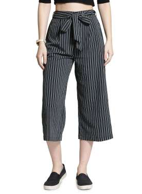plusS Women Black & Grey Striped Flared Palazzos
