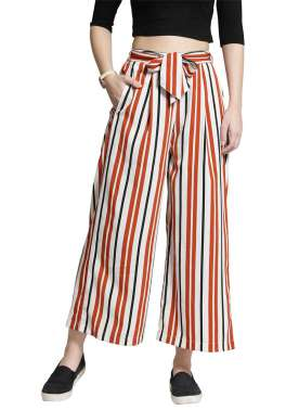plusS Women White & Orange Striped Palazzos