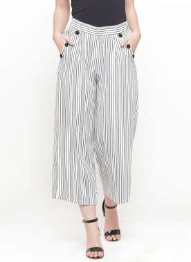 plusS Women White & Black Striped Flared Palazzos