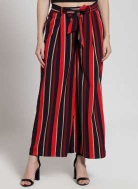 plusS Women Black & Red Striped Flared Palazzos