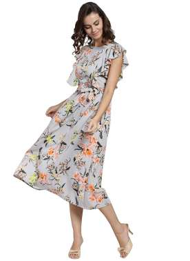 plusS Women Grey Printed Fit and Flare Dress