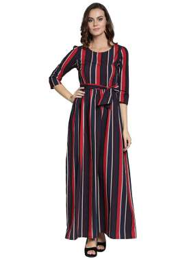 plusS Women Blue Striped Fit and Flare Dress