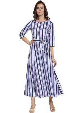 plusS Women Blue Striped A-Line Dress