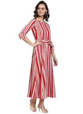 plusS Women Red & Off-White Striped A-Line Dress