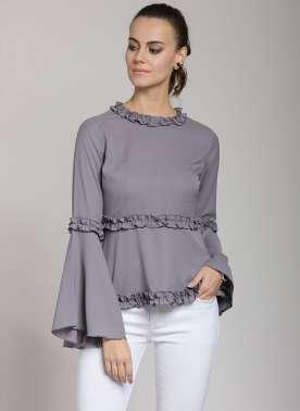 plusS Women Grey Solid Peplum Top