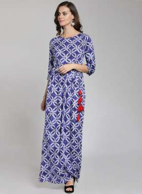 plusS Women Blue Printed Maxi Dress