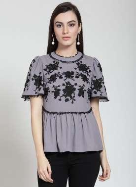 plusS Women Grey Solid A-Line Top